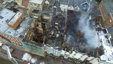 The remains of the Royal Clarence Hotel, Exeter. Photo by D&C Police Drones
