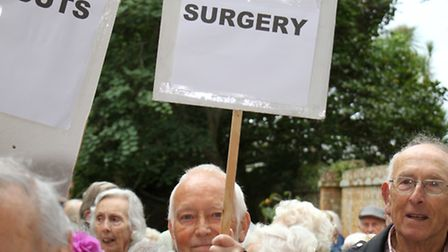 Sidmouth residents gathered at Blackmore Surgery to protest at the possible closure of the pract