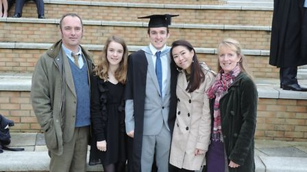 Sol and his family at Exeter University where he graduated on Saturday.