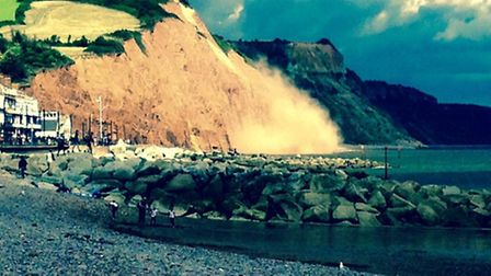 Cliff fall on Sidmouth's east beach