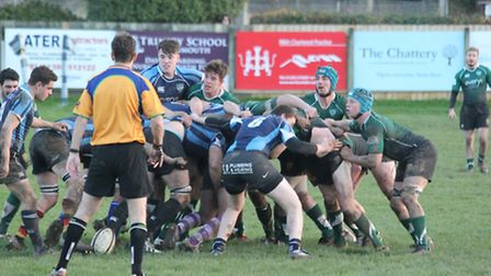 Action from the Boxing Day match at the Blackmore home of Sidmouth RFC
