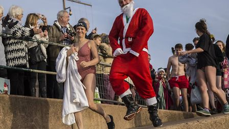 Hundreds joined in at the annual Boxing Day swim at Sidmouth. Picture: Tony Charnock