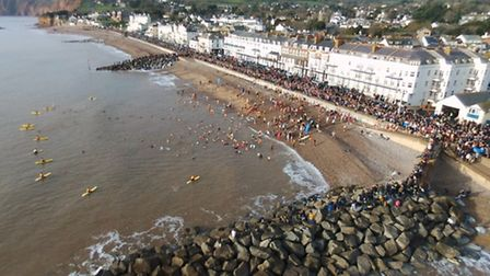 The Sidmouth Boxing Day swim, captured by Robert Pearson's drone. Ref shs Sidmouth swim RP-2. Pictur