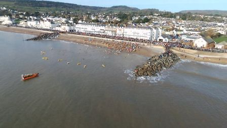 The Sidmouth Boxing Day swim, captured by Robert Pearson's drone. Ref shs Sidmouth swim RP-4. Pictur