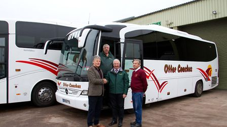 Chris and Alan Down of Otter coaches with Dave Hounslow and David Dart of Darts. Ref sho 49-16TI 322