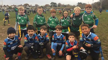 Sidmouth Under-7s Green team one from the matches with Topsham