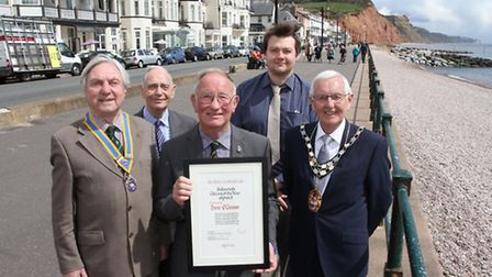 Sidmouth Citizen of the Year Dave O'Connor Town Council Chairman Jeff Turner, Sidmouth Rotary presid