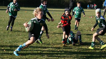Sidmouth Under-10 rugby action against Cullompton