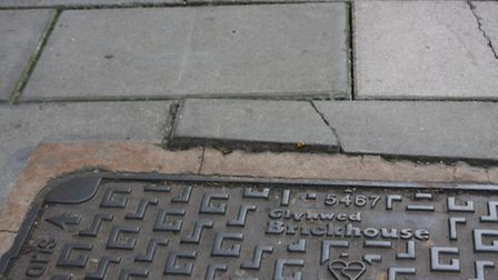 The offending paving slab in Fore Street, Sidmouth