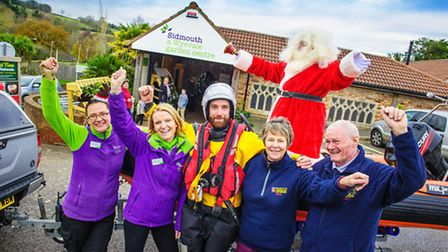 Father Christmas swapped his sleigh for the lifeboat to open his magic grotto.