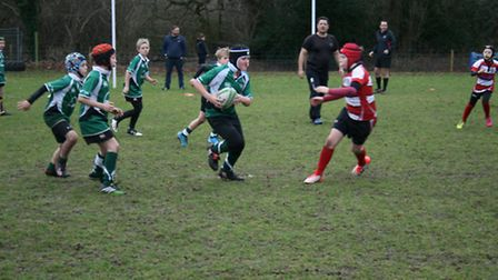 Sidmouth Under-10 action versus Paignton