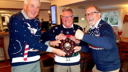 The captains of Axe Cliff, Lyme Regis and Sidmouth grappling with the inaugural Winter Mini League t