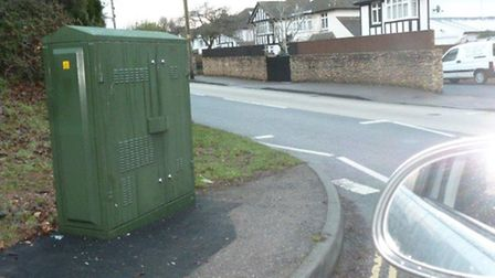 BT Openreach Broadband box at Manstone Mead junction poses hazard say concerned road users