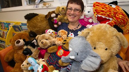 Sidmouth librarian Carol Pentecost with the newly donated toys. Ref shs 02-17TI 5311. Picture: Terry