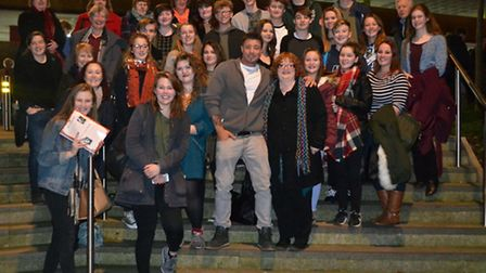 Sidmouth College pupils and staff meet Duncan James after the show.