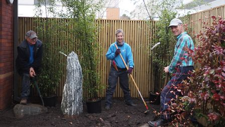 Kevin Hill, Anna Childs and Mike Keane from Otter Nurseries helping to put together the garden at th