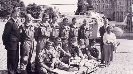 Ann Thomas with the Devon Air Ambulance crew at its launch in 1992