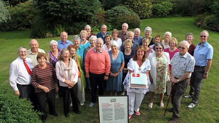 Anne Bishop, chairman of Sidmouth Twinning Circle and members, celebrate 30 years since Sidmouth twi