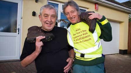 Bob Baker and Bob Richards before their walk on new year's day. Ref exe 52-16TI 4083. Picture: Terry