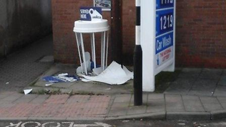The smashed Lavazza coffee cup outside Ottery Service Station.