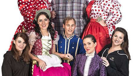The cast of Cinderella performing at West Hill village hall in January.