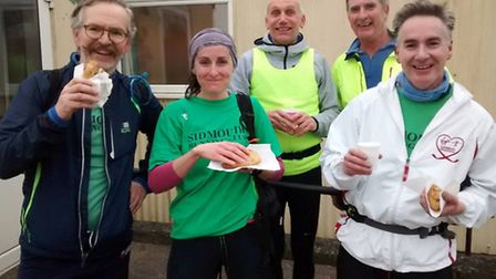 The West Hill contingent of Sidmouth Running Club members at the pasty stop during the Blackdown Bea