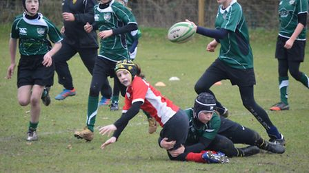 Sidmouth Under-13 girls in action