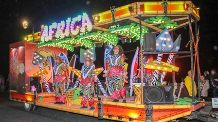 Africa comes to Sidmouth carnival. Ref shs 39-16TI 8727. Picture: Terry Ife