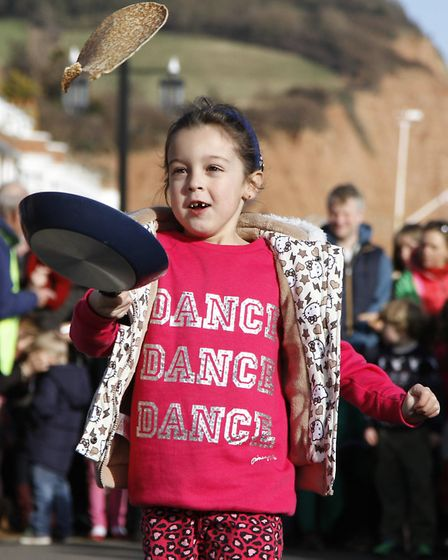 Sidmouth Pancake races. Ref shs 3170-08-15TI. Picture: Terry Ife