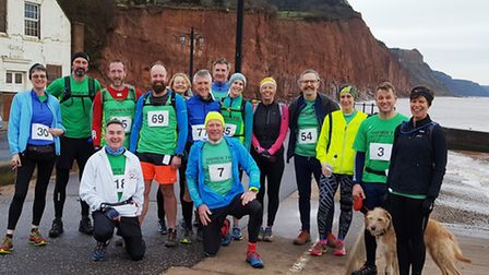 Sidmouth Running Club members before the start of the 2017 Four Trigs meeting