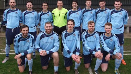 Beer Albion first team line up before their latest Macron League meeting with Bow AAC. Back row (lef