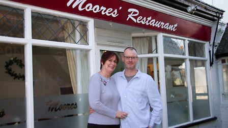 Kate and Jonathan Moore outside their restaurant. Ref shs 06-17TI 6757. Picture: Terry Ife