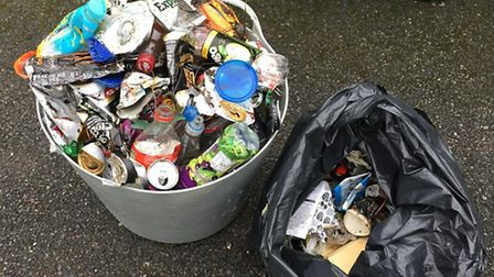 Lois and Sharon collected this rubbish in one stretch of Fortescue, filling a plastic bucket with cr