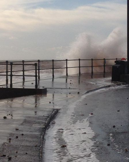 Dramatic scenes on Sidmouth seafront today as storm hits. Photo credit SAMANTHA ASHFORD