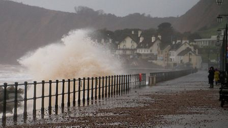 Sidmouth sea front at high tide. Ref shs 05-17TI 6572. Picture: Terry Ife