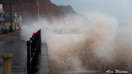 Storm hits during high tide in Sidmouth