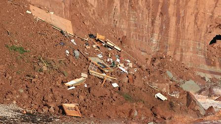 A cliff fall in Sidmouth took a homeowner's shed with it. Photo by APEX.
