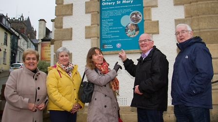 Ottery's Mayor Glyn Dobson and FOOL secetary Margaret Whitlock with Josefina Gori, Ian Holmes and An