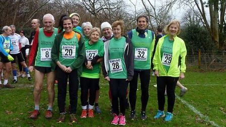 Sidmouth Running Club members at the SW Vets cross-country event held at Sidford.