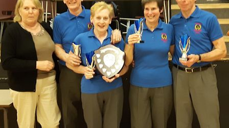 The Sidford four Evan and Bev Williams together with Pam and Colin Palmer who won the Thelma Shere C