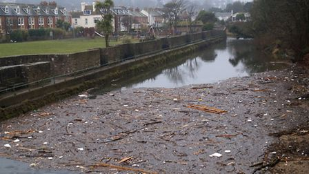 Debris on the River Sid. Picture: Eve Mathews.