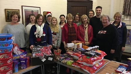 Sid Valley Food Bank volunteers pictured with Christmas hampers