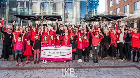 Sidmouth dance instructor leads flashmob protest against domestic abuse. Photo: KYLE BAKER