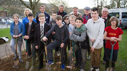 Sidmouth Rotary Club with students from Sidmouth College planting a selection of trees around the co