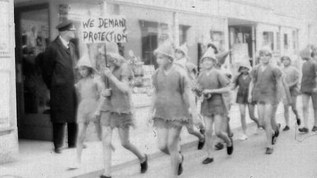 Ottery Pixie Day, June 1971. The Pixies protest through the square. Ref sho Pixie Day 1971 5. Pictur