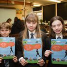 Pupils at Sidmouth College with their Sid Valley neighbourhood plan forms. Ref shs 49-16TI 3084. Pic