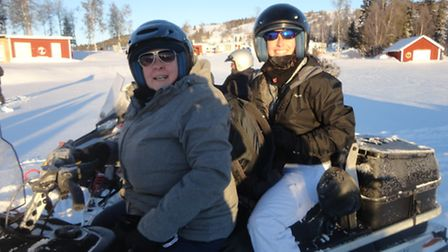 June Connor (front of bike) on arctic challenge with friend Carlie Hopper