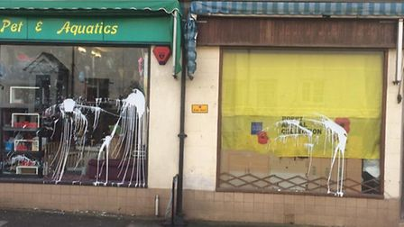 The shop fronts as they were found on Thursday morning. Photo: Sam Waring
