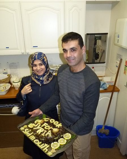 shs Syrian refugees Mazen and Wafaa Alsawadi at Sidmouth's Cook for Syria evening. Picture: contribu