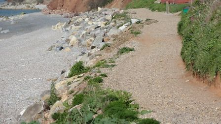 The pathway in 2017 down to the chalets on the west end of Branscombe beach, where the rock armour w